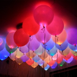 LED Light Balloons, 9 Inches (Mixed Colours) - Pack of 10