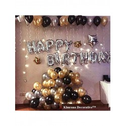 Happy Birthday Letter Foil Balloon Set of (Silver) + Pack of 50 Metallic Balloons (Black, Gold and Silver)