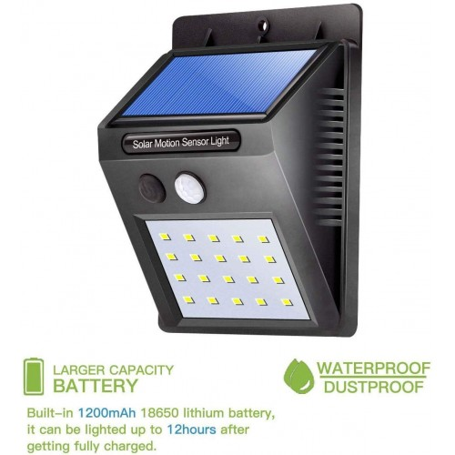 20 LED Bright Outdoor Security Lights with Motion Sensor (Black)