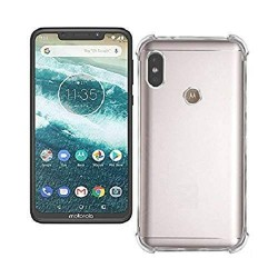 Kelpuj BumperCorner Soft Silicon Shockproof Flexible Rubber Back Case Cover for Motorola moto One Power